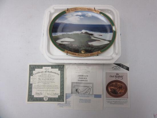The Bradford Exchange America's Famous Fairways The 7th at Pebble Beach Porcelain Plate w/ COA