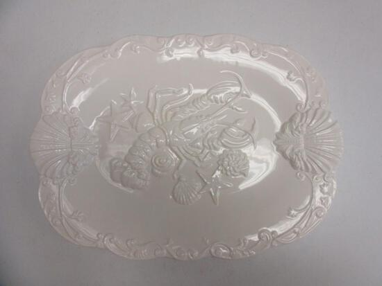 "14""x19"" White Ceramic Lobster Plater Made in Portugal"