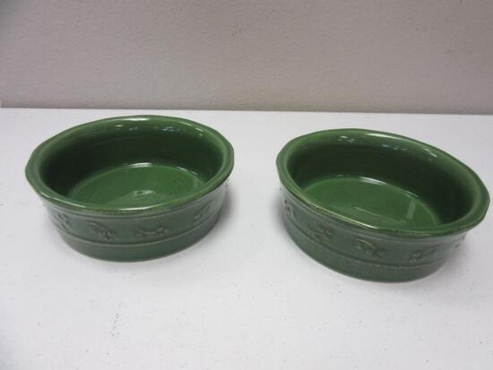 Pair of Green Bella Debby Segura Designs Stoneware Bowls