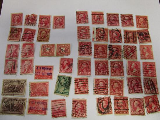 Historical lot of 50 various 2 cent US postage and documentary stamps