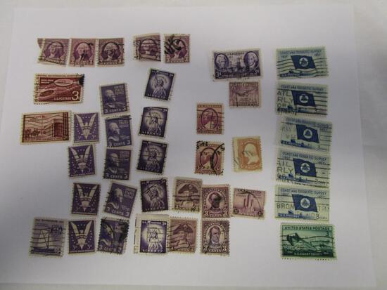 Historical lot of 38 various canceled 3 cent postage stamps