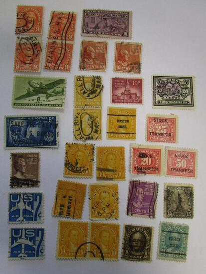 Historical lot of 30 various canceled postage and stock transfer stamps
