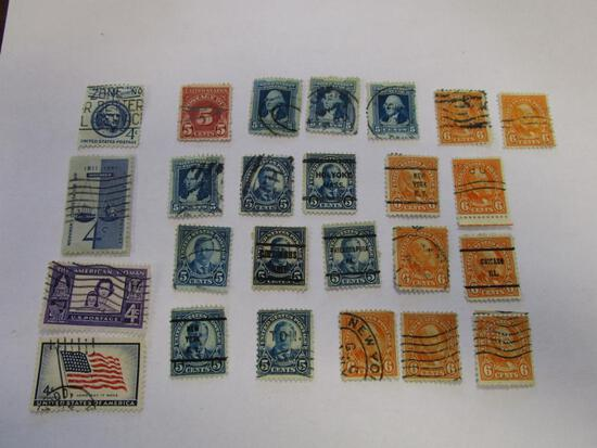 Historical lot of 25 various canceled postage stamps. 4, 5, and 6 cents
