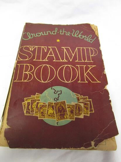 Vintage Around-The-World stamp book with over 500 vintage stamps