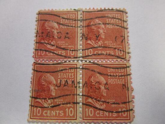 Historical block of 4 canceled 1938 US Postage John Tyler 10 cent stamps marked Jamaica, NY