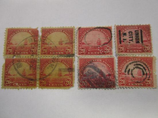 Lot of 8, block of 4 and 4 lose, historical canceled 1923 US Postage Golden Gate 20 cent stamps