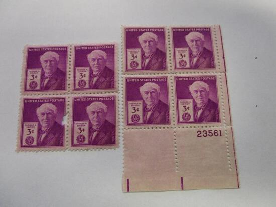 Two blocks of historical unused 1947 US Postage 3 cent Thomas A. Edison stamps