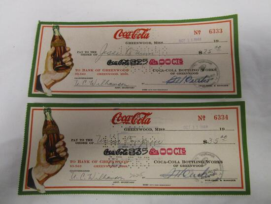 Two vintage CocaCola, Greenwood, Miss. canceled checks. Sequentially numbered No. 6333 and 6334