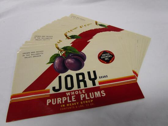 Lot of 48 vintage Jory Brand Whole Plumb crate labels