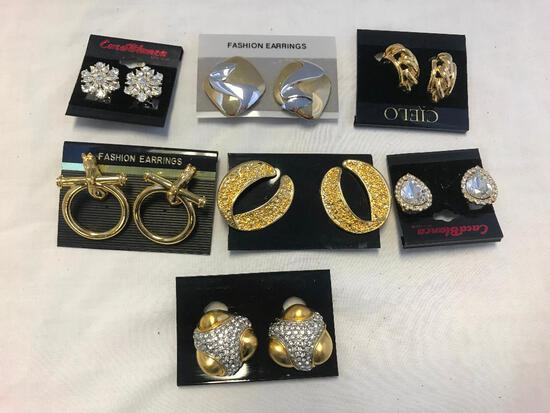 Lot of 7 Gold-Tone Clip-On Costume Earrings