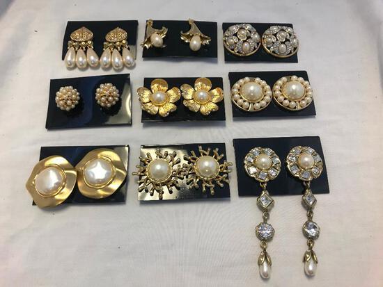 Lot of 9 Gold-Tone Faux Pearl Clip-On Earrings