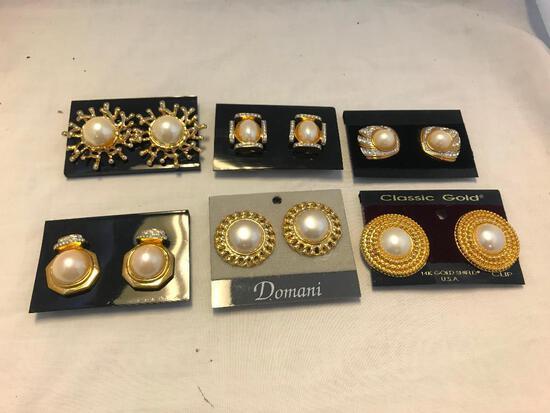 Lot of 6 Gold-Tone Faux Pearl Clip-On Earrings