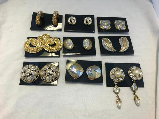Lot of 9 Silver and Gold-Tone Costume Earrings