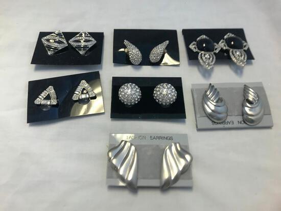 Lot of 7 Silver-Tone Clip-On Earrings