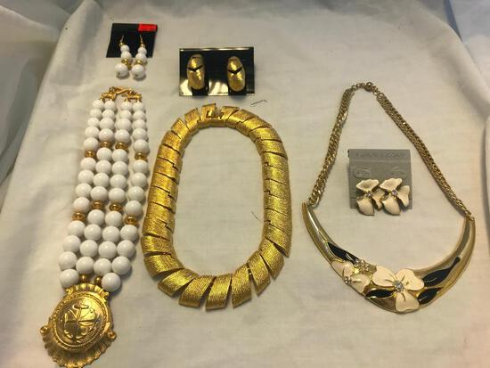 Lot of 3 Gold-Tone Necklace and Earring Sets