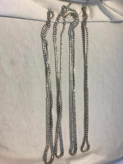 Lot of 4 Identical Silver-Tone Thin Rhinestone Belts