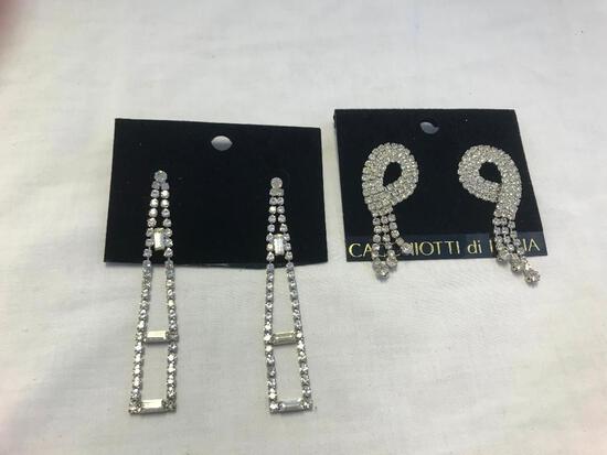 Lot of 6 Silver-Tone Rhinestone Earrings