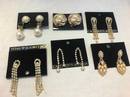 Lot of 6 Gold-Tone Faux Pearl and Rhinestone Earrings