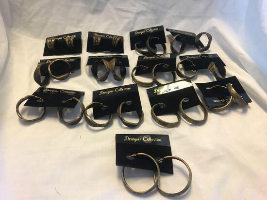 Lot of 13 Brass-Tone Hoop Earrings