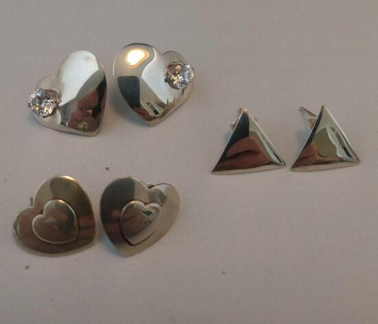 Lot of 3 small sterling silver pierced earrings