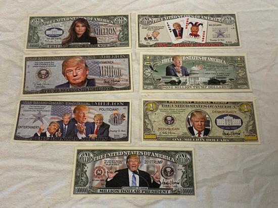Lot of 7 DONALD TRUMP Novelty Currency Bills