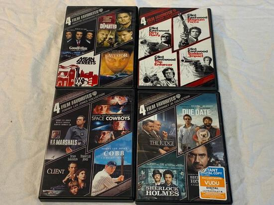 Lot of 16 DVD Movies- Dirty Harry, Sherlock Holmes, Goodfellas, Space Cowboys, Aviator