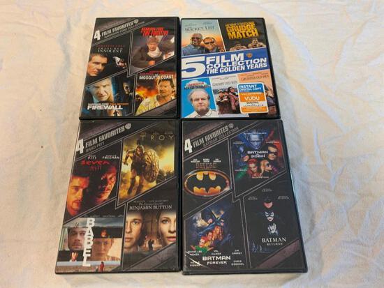 Lot of 17 DVD Movies- Batman 4 Film Collection, Brad Pitt 4 Films, Harrison Ford 4 Films