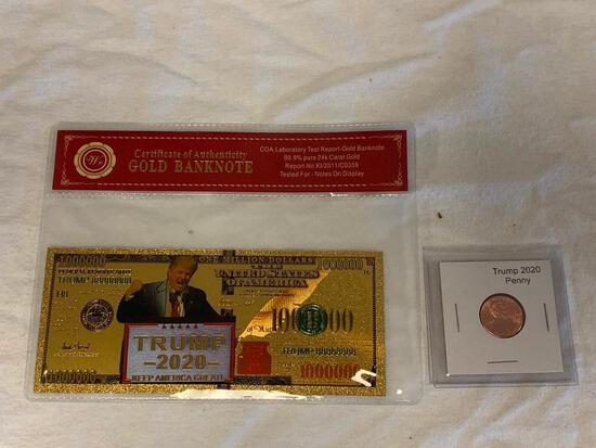 DONALD TRUMP 24K Gold Banknote and Trump Penny