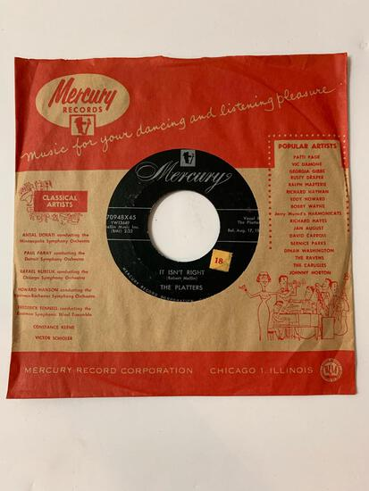 The Platters ?? You'll Never Never Know / It Isn't Right 45 RPM 1956 Record