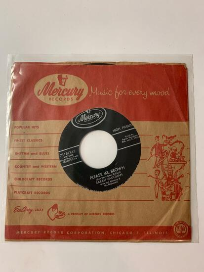 Sarah Vaughan ?? Please Mr. Brown / Band Of Angels 45 RPM 1957 Record.