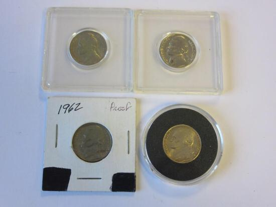 Lot of 4 Uncirculated/Proof Jefferson Nickels