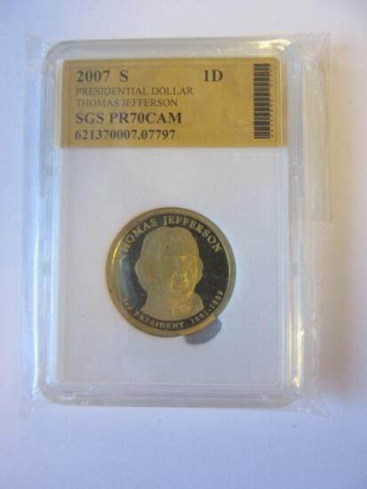 2007-S Presidential Dollar Thomas Jefferson SGS PR70CAM