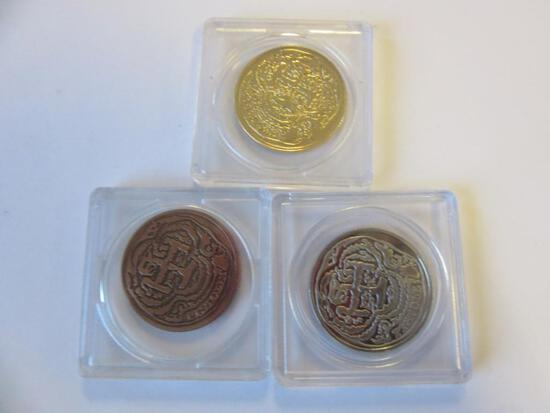 Lot of 3 Quebec Trois Pistoles Tokens with Different Tones