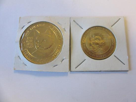 Pair of North Shore Animal League Cat/Dog Tokens