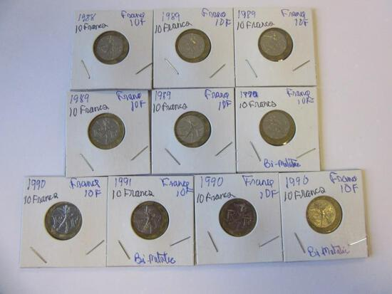 Lot of 10 1988-1991 French 10 Francs Coins