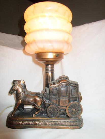 Vintage bronze-painted resin horse carriage lamp pink glass shade