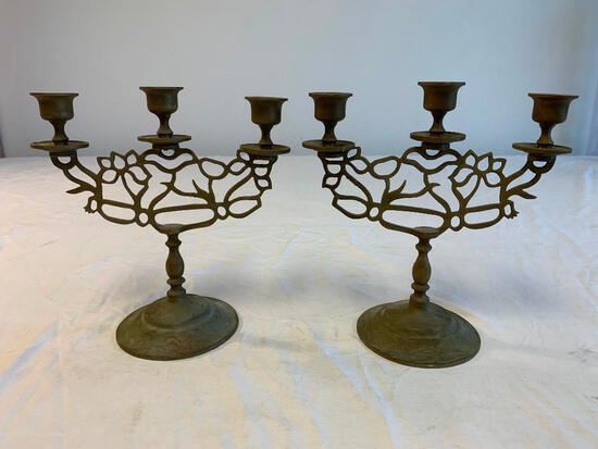 Vintage Pair of Brass Candelabras 3-arm