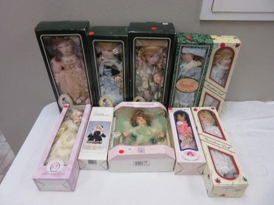 Lot of 10 Porcelain Dolls Various Sizes NEW in Boxes