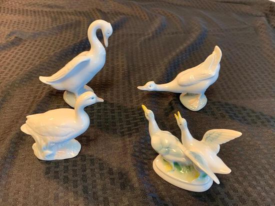 4 Llardo, Bavaria,Dalia Porcelain SWAN DUCK Figs