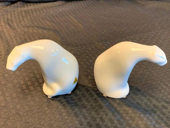 2 Vintage Royal Dux Porcelain POLAR BEAR Figures