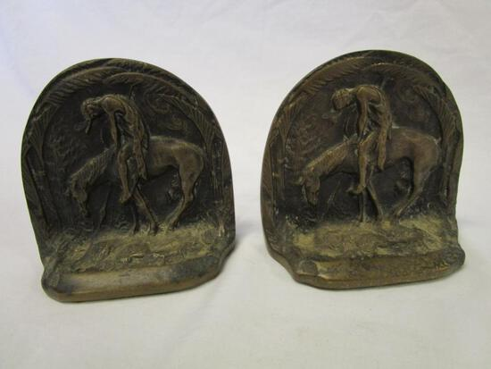 Vintage end of trail Native American cast iron bookends