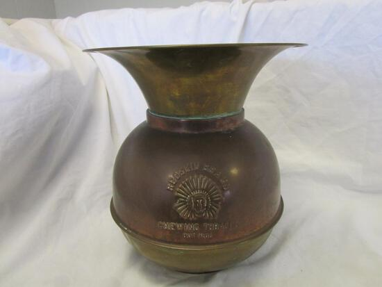 Vintage brass Redskin Brand Tobacco Out Plug Spittoon