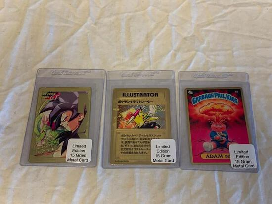 Lot of 3 15g Gold Cards-Dragon Ball Z, Garbage Pail Kids, Pocket Monster-Mint Condition