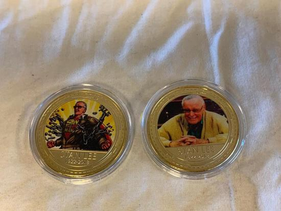 Lot of 2 STAN LEE Coin Tokens-Mint condition