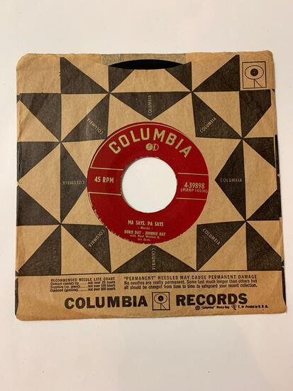 DORIS DAY JOHNNIE RAY WITH PAUL WESTON AND HIS ORCH Ma Says, Pa Says / A Full Time Job 45 RPM 1953