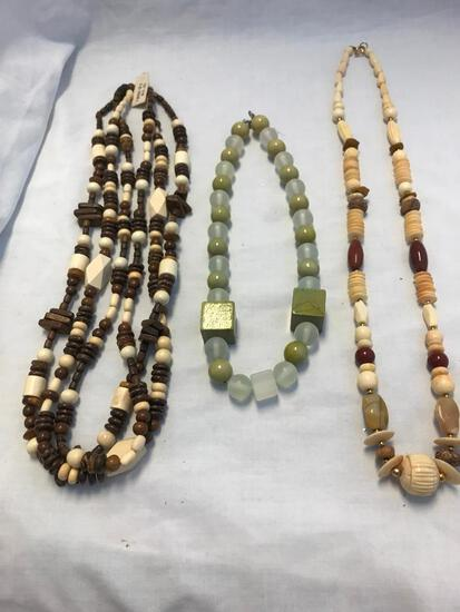 Lot of 3 Wooden Bead Necklaces
