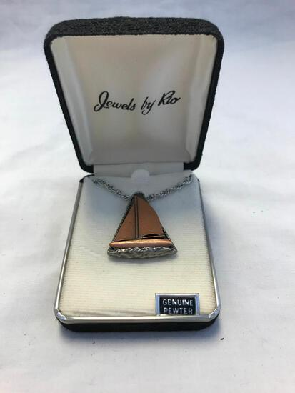 Genuine Pewter Sail Boat Pendant Necklace
