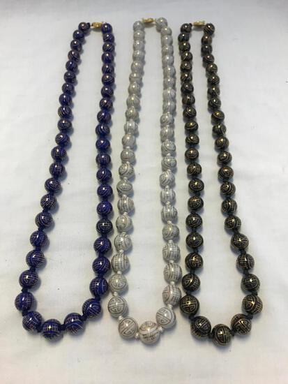 Lot of 3 Enamel Bead Necklaces