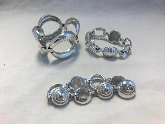Lot of 3 Silver-Tone Bracelets