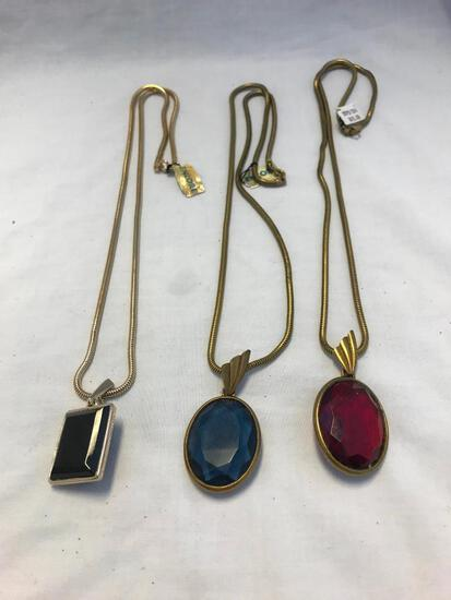 Lot of 3 Gold-Tone Jewel Pendant Necklaces